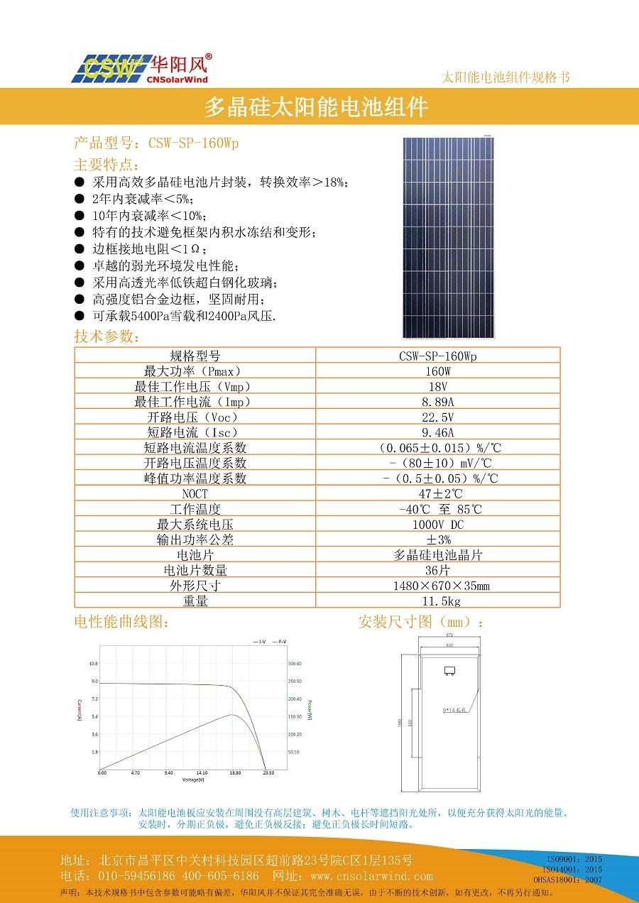 160Wp多晶硅太陽能電池板