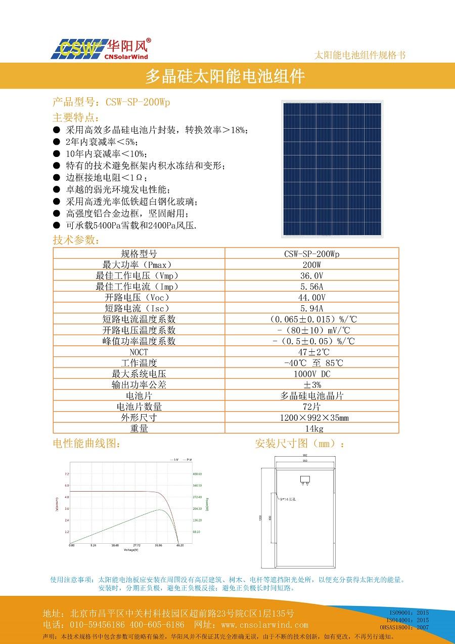 200Wp多晶硅太陽能電池板